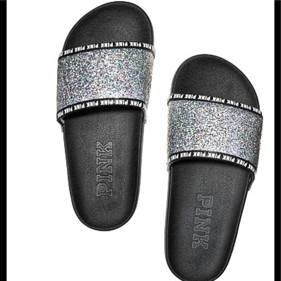 7a74393a6 NWT VS PINK Single Strap Silver Glitter Slides
